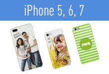 Customize iPhone 5, 6, and 7's with your photos, artwork, or logos.